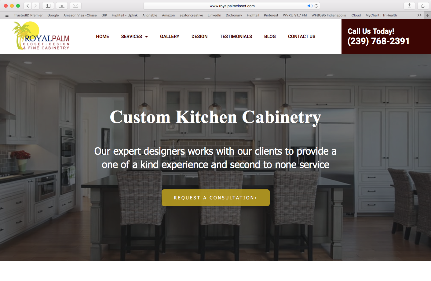 Royal Palm - Custom Cabinetry (website redesign, SEO)